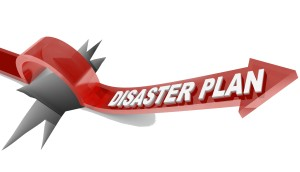 A red arrow with the words Disaster Plan leaps over a wide hole